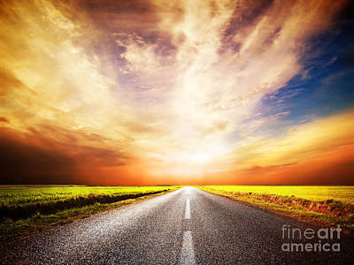 Empty Asphalt Road. Sunset Sky Art Print by Michal Bednarek