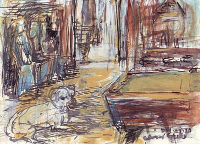 Empty Bar With Dog And Pool Table Art Print by Edward Ching