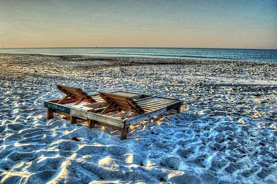 Digital Art - Empty Beach Chairs by Michael Thomas