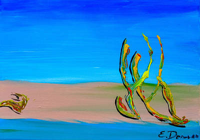 Painting - Empty Beach In Tel Aviv Abstract Seascape by Eliza Donovan