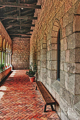 Empty Bench And Corridor At Cloisters Art Print by Nishanth Gopinathan