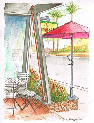 Laguna Beach Painting - Empty Table In A Coffee House, Laguna Beach, California by Carlos G Groppa