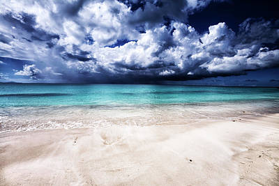 Antilles Photograph - Empty Caribbean White Sand Beach With by Stevegeer