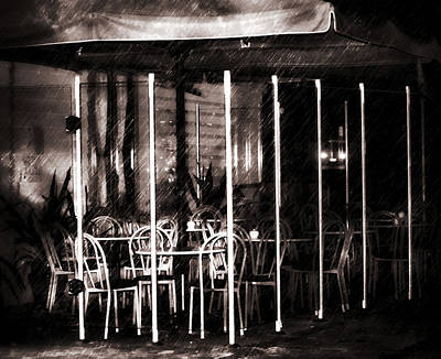Photograph - Empty Chairs And Empty Tables - Soft Sepia Vintage by Georgiana Romanovna