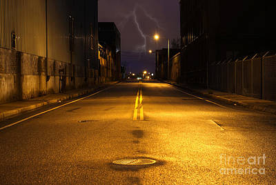 Ghetto Photograph - Empty City Street At Night With Lighting Strike by Denis Tangney Jr
