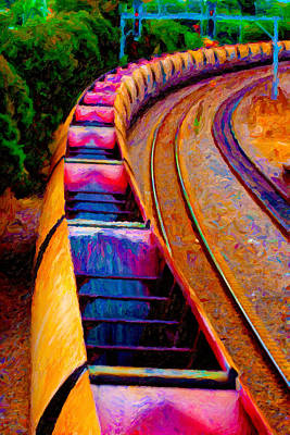 Digital Art - Empty Coal Hoppers by Chuck Mountain