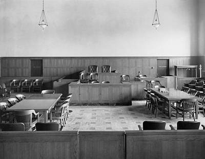Photograph - Empty Courtroom by Underwood Archives
