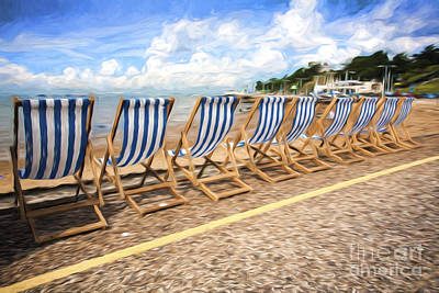 Empty Deckchairs At Southend On Sea Art Print by Avalon Fine Art Photography