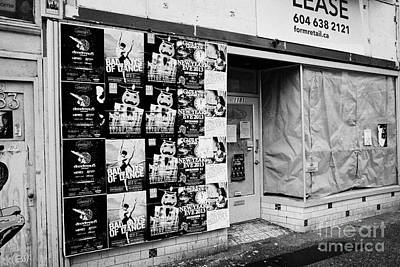 empty downtown store for lease covered in posters Vancouver BC Canada Art Print