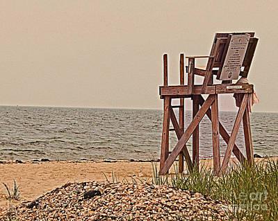 Empty Lifeguard Chair Art Print by Rita Brown