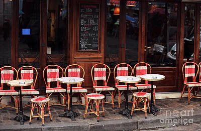 Photograph - Empty Montmartre Cafe by John Rizzuto