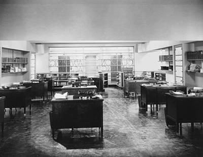 Empty Office Scene Art Print by Underwood Archives