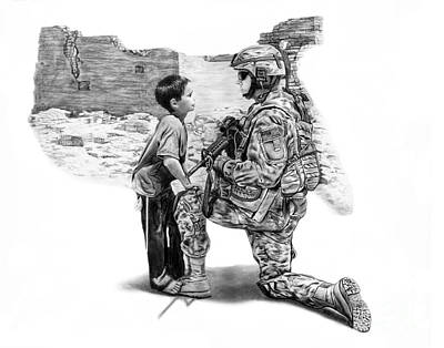 Soldiers Drawing - Empty Pockets  by Peter Piatt