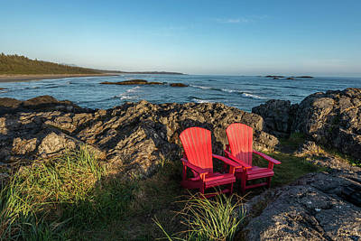 Empty Red Chairs At Coast, Pacific Rim Art Print