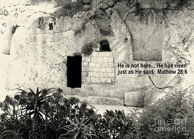 Photograph - Empty Tomb Of Jesus Black And White by Lou Ann Bagnall