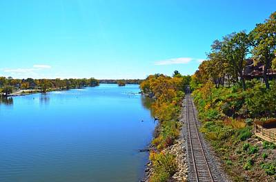 Photograph - Empty Train Tracks Of Rockford On The Rock River With Fall Colors by Jeff at JSJ Photography