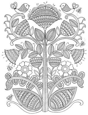 Fun Flowers Drawing - Emroidery Pattern 1 by Neeti Goswami