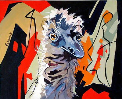 Emu Design In Acrylic Art Print by Rae Andrews