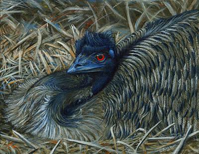 Emu Painting - Emu Elegance by Cara Bevan
