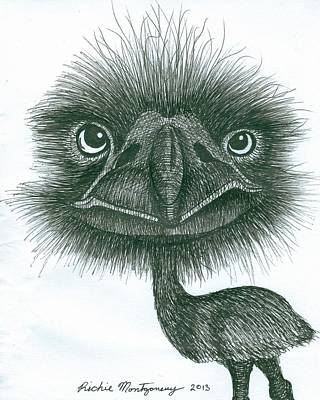 Emu Drawing - Emu by Richie Montgomery
