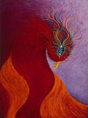 Fantastique Painting - Mythical Phoenix En Fuego by Karen Balon