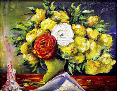 El Amor Painting - En Nombre De La Rosa by Ruben Santos