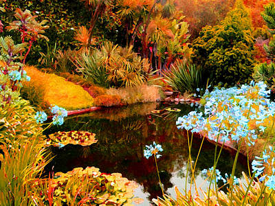 Painting - Enchaned Blue Lily Pond by Amy Vangsgard
