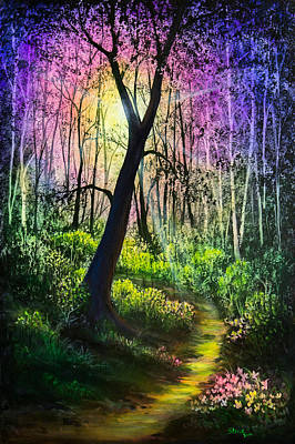 Sun Rays Painting - Enchanted Forest by C Steele
