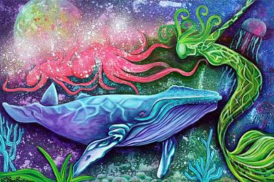 Whale Painting - Enchanted Ocean by Laura Barbosa