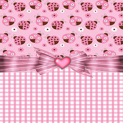 Bug Digital Art - Enchanted Pink Ladybugs by Debra  Miller