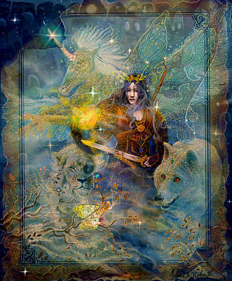 Unicorn Art Painting - Angel Tarot Card Enchanted Princess by Steve Roberts