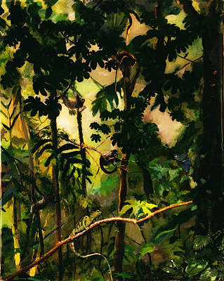 Rainforest Painting - Enchanted Rainforest by Sue Burickson