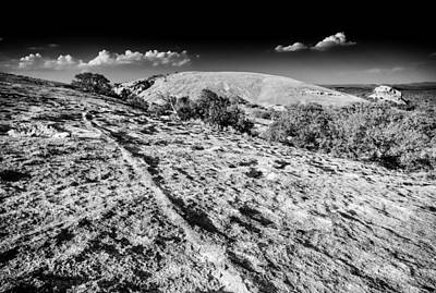 Photograph - Enchanted Rock Texas Hill Country  Black And White by Silvio Ligutti