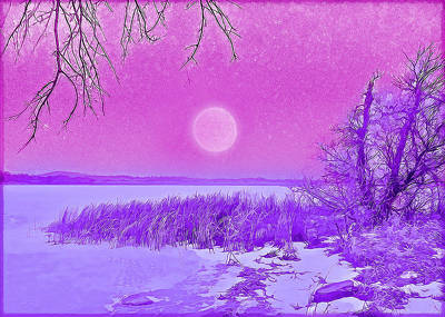 Art Print featuring the digital art Rosy Hued Moonlit Lake - Boulder County Colorado by Joel Bruce Wallach