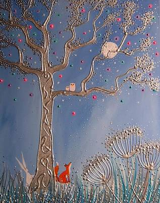 Red Fox Mixed Media - Enchanted Silver Tree by Angie Livingstone