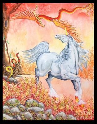 Louisa Painting - Elemental Unicorn Enchantment by Louisa Poole