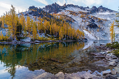 Photograph - Enchantments Mcclellan Peak Fall Reflections by Mike Reid