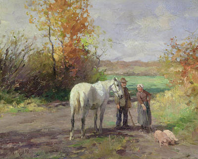 Pig Photograph - Encounter On The Way To The Field, 1897 Oil On Panel by Thomas Ludwig Herbst