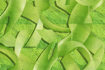 Digital Art - Green Ribbons by Don Gradner