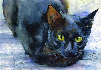 Painting - Ency Black Cat by John D Benson