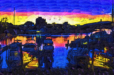 Painting - End Of Day At Dock by Kirt Tisdale