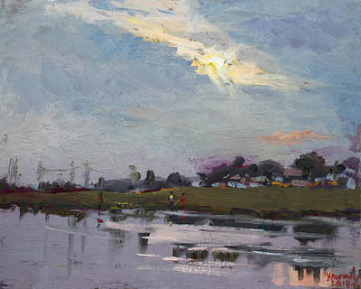 Fishermen Painting - End Of Day By Elmer's Pond by Ylli Haruni