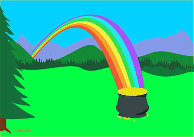 End Of Rainbow Pot Of Gold Art Print
