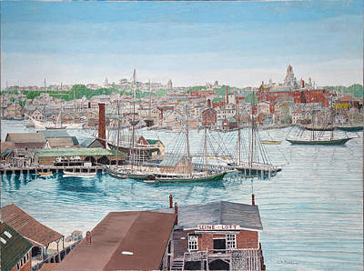 Painting - End Of Rocky Neck And City by Laurence Dahlmer