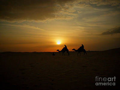 End Of The Day In Sahara Art Print by Rossitsa Dimitrova