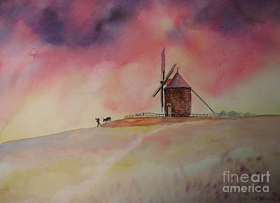 Painting - End Of The Day Windmill Of Moidrey by Beatrice Cloake