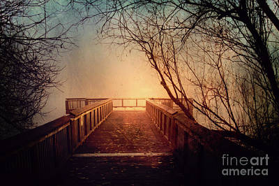 Winter And Autumn Landscape Photograph - End Of The Dock by Sylvia Cook