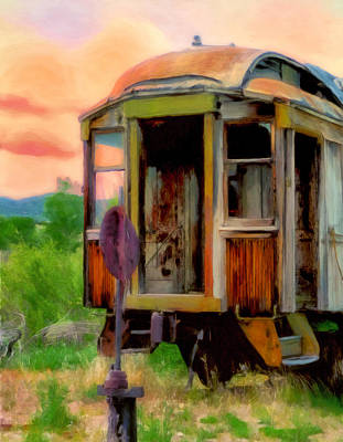 Rusted Cars Painting - End Of The Line by Michael Pickett