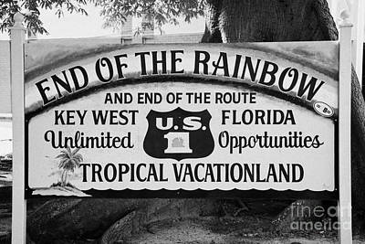End Of The Rainbow Sign Us Route 1 Key West Florida Usa Art Print by Joe Fox