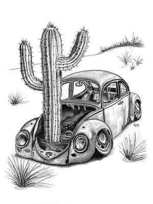 Vw Beetle Drawing - End Of The Road by Roudy Courser
